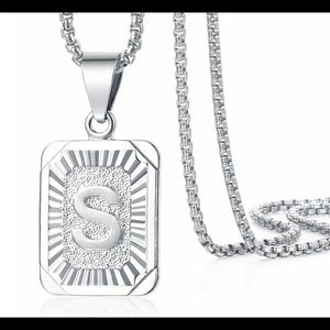 """White Gold Filled Letter S Pendant 20"""" Necklace"""